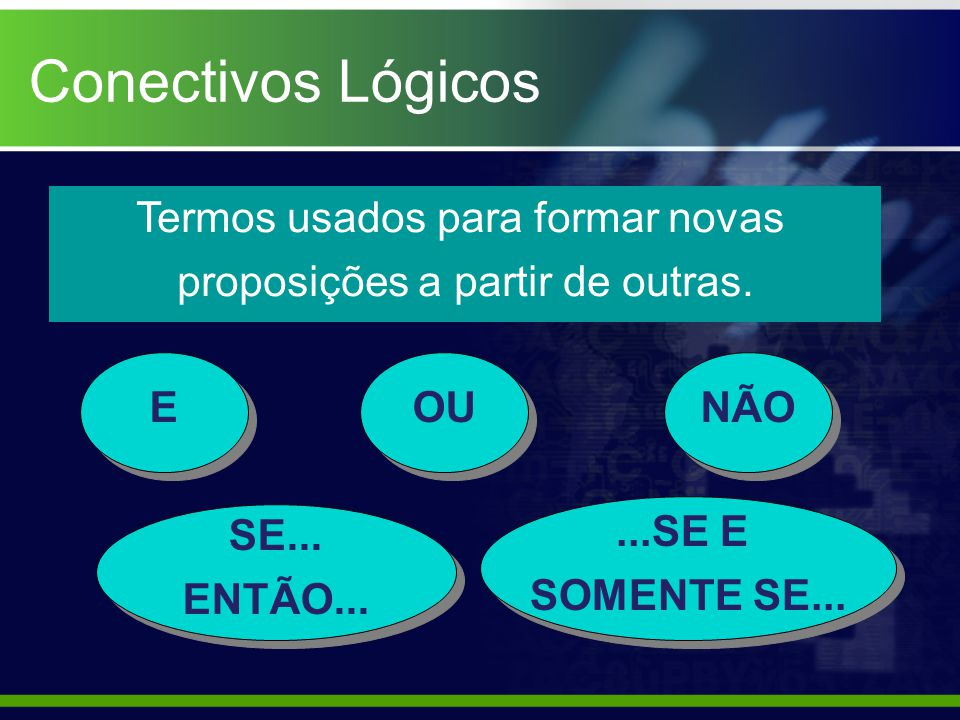 Conectivos Lógicos Termos usados para formar novas