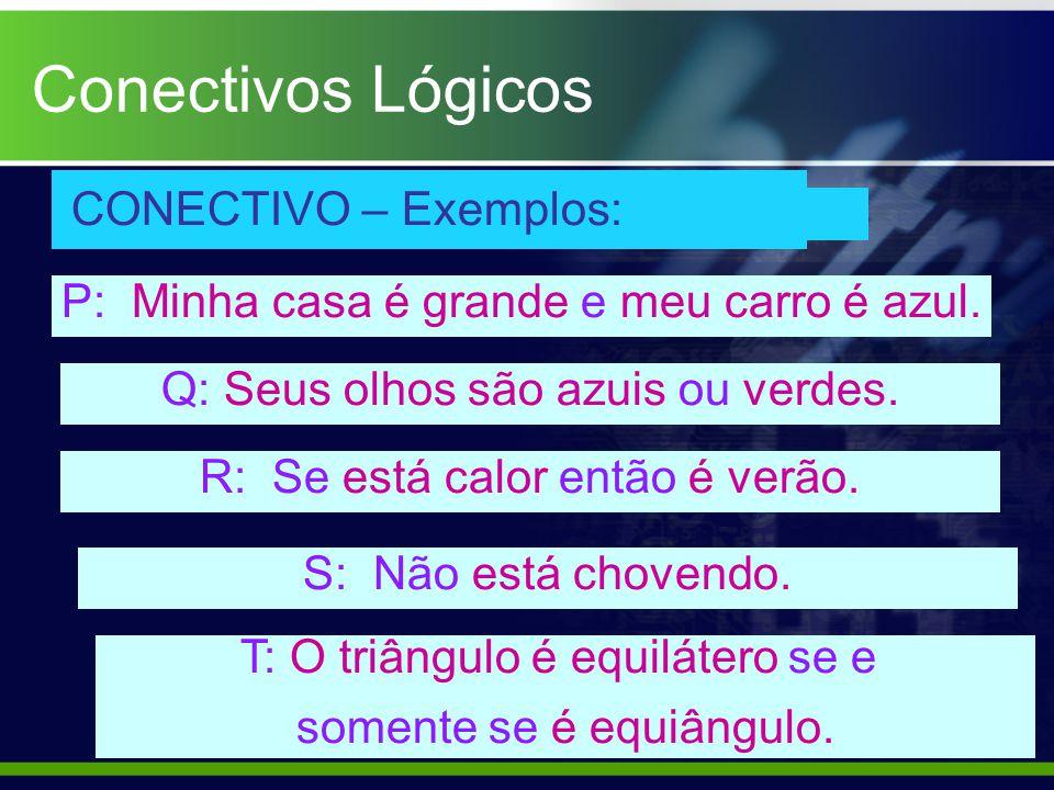Conectivos Lógicos CONECTIVO – Exemplos: