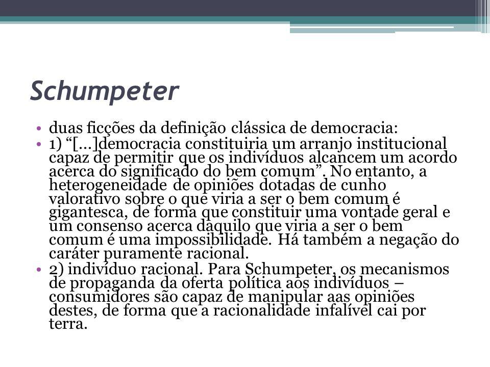Schumpeter duas ficções da definição clássica de democracia: