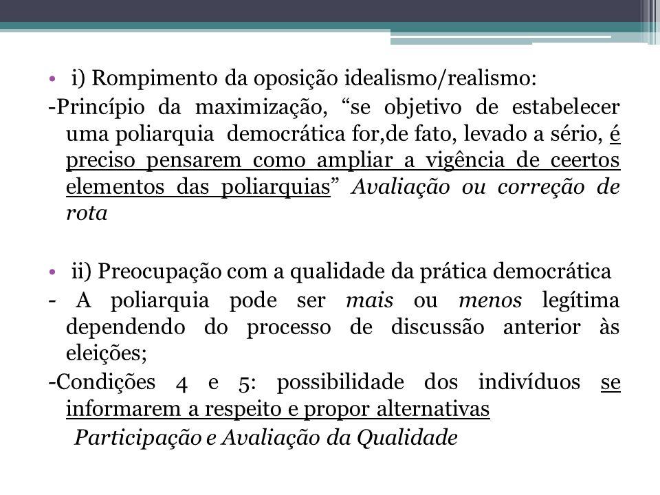 i) Rompimento da oposição idealismo/realismo: