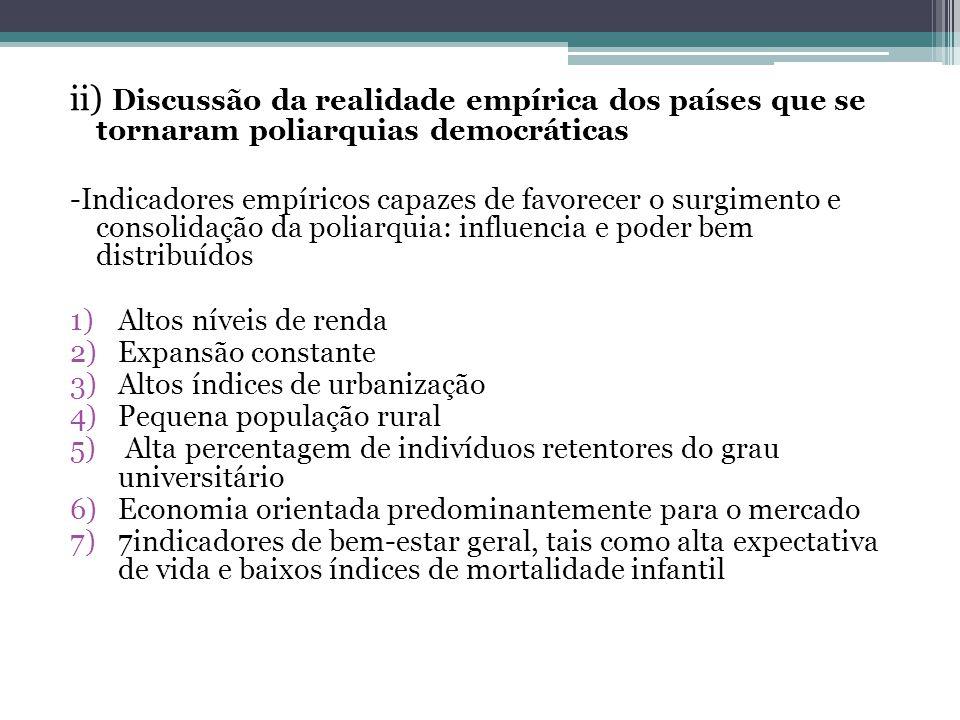 ii) Discussão da realidade empírica dos países que se tornaram poliarquias democráticas