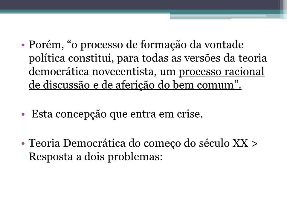 Porém, o processo de formação da vontade política constitui, para todas as versões da teoria democrática novecentista, um processo racional de discussão e de aferição do bem comum .
