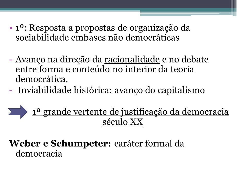 1ª grande vertente de justificação da democracia século XX