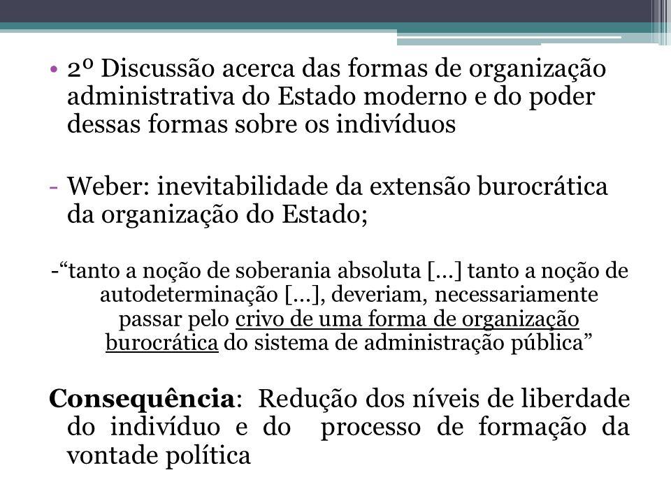 2º Discussão acerca das formas de organização administrativa do Estado moderno e do poder dessas formas sobre os indivíduos