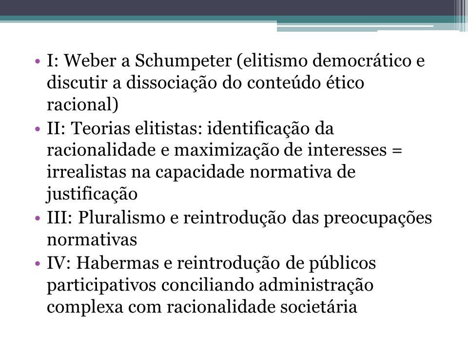 I: Weber a Schumpeter (elitismo democrático e discutir a dissociação do conteúdo ético racional)