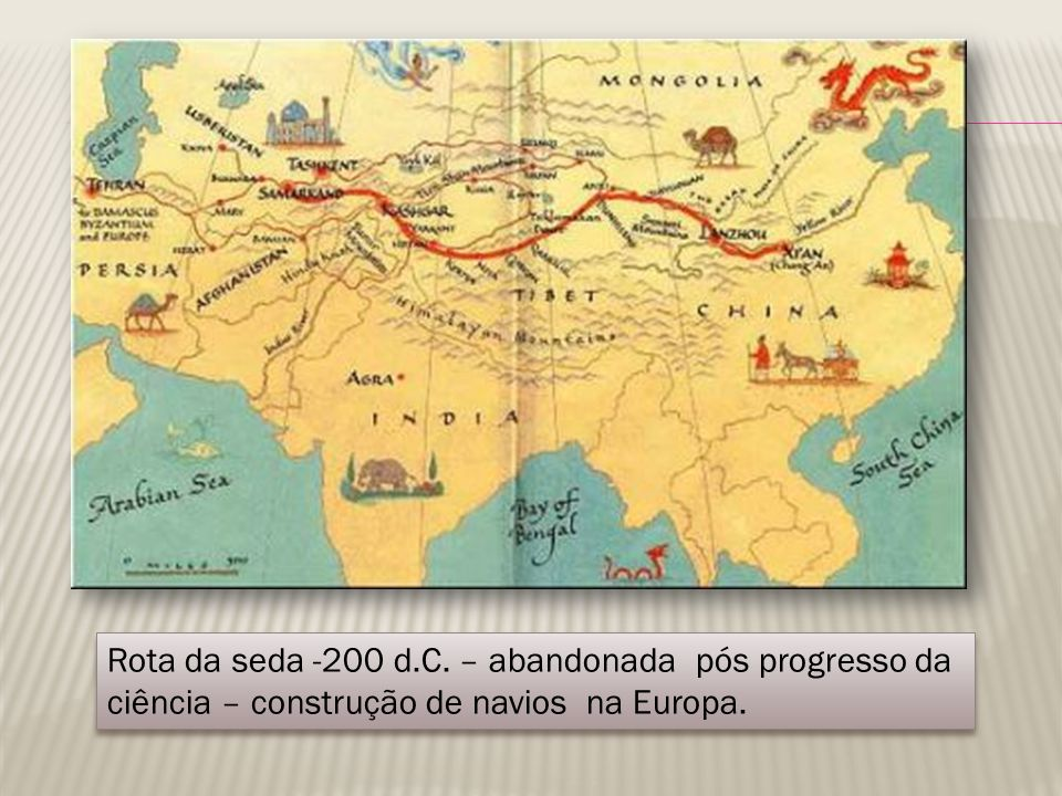 Rota da seda -200 d.C. – abandonada pós progresso da ciência – construção de navios na Europa.