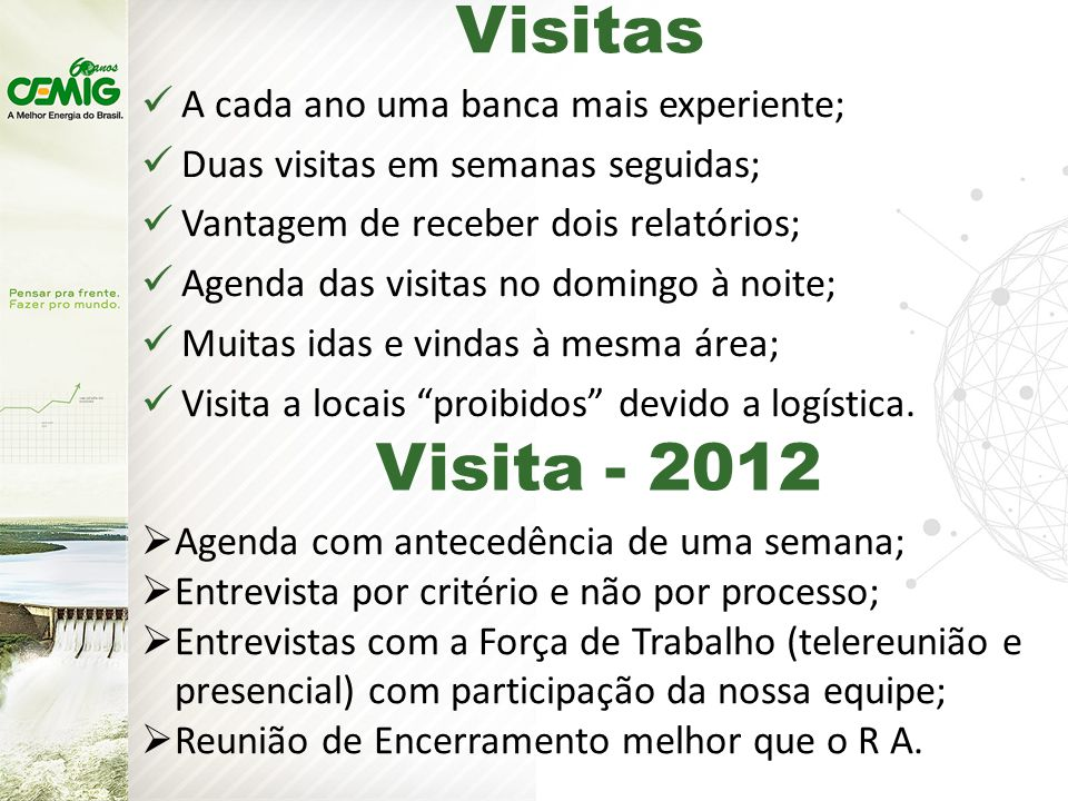 Visitas Visita - 2012 A cada ano uma banca mais experiente;
