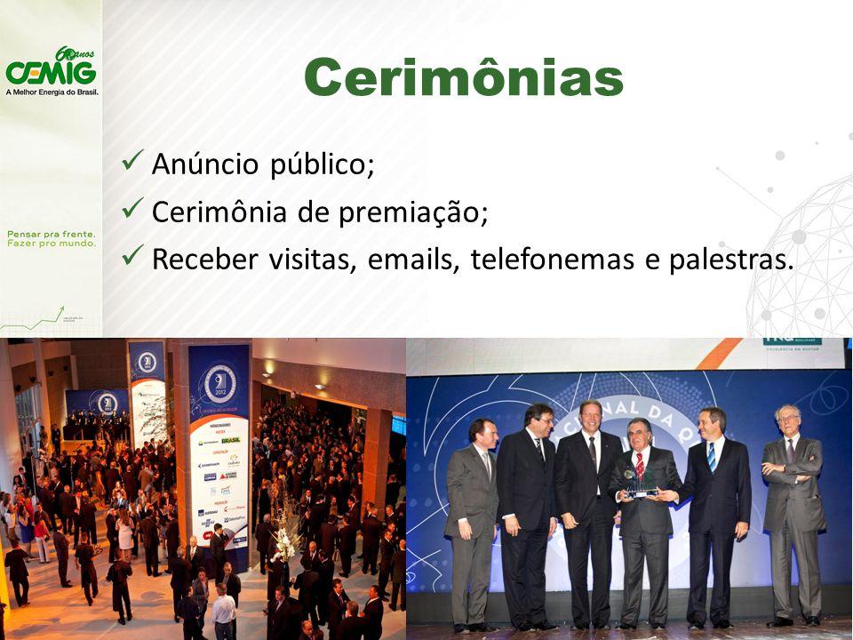 Cerimônias Anúncio público; Cerimônia de premiação;