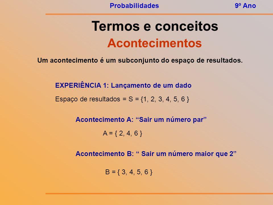 Um acontecimento é um subconjunto do espaço de resultados.