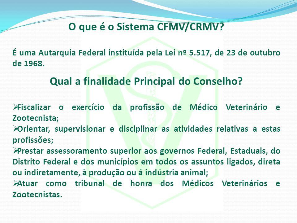 O que é o Sistema CFMV/CRMV Qual a finalidade Principal do Conselho