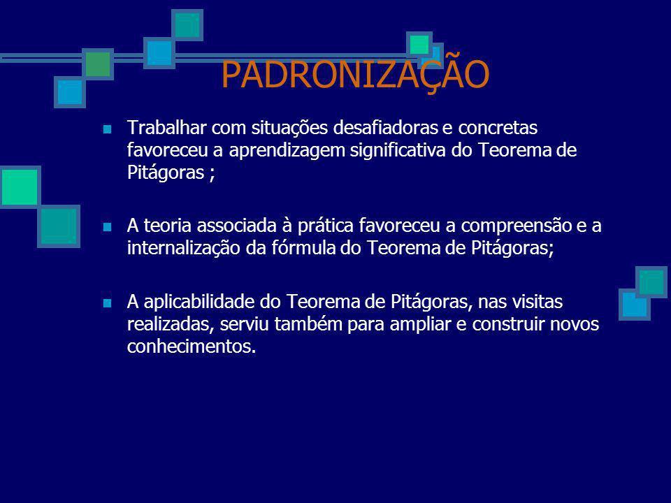 PADRONIZAÇÃO Trabalhar com situações desafiadoras e concretas favoreceu a aprendizagem significativa do Teorema de Pitágoras ;