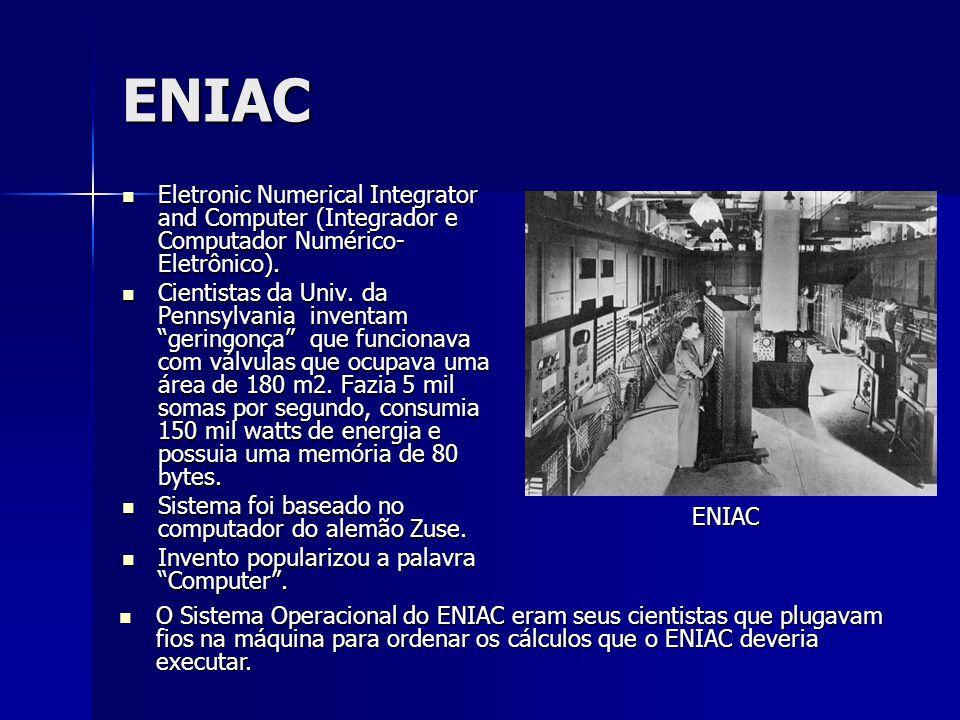 ENIAC Eletronic Numerical Integrator and Computer (Integrador e Computador Numérico-Eletrônico).