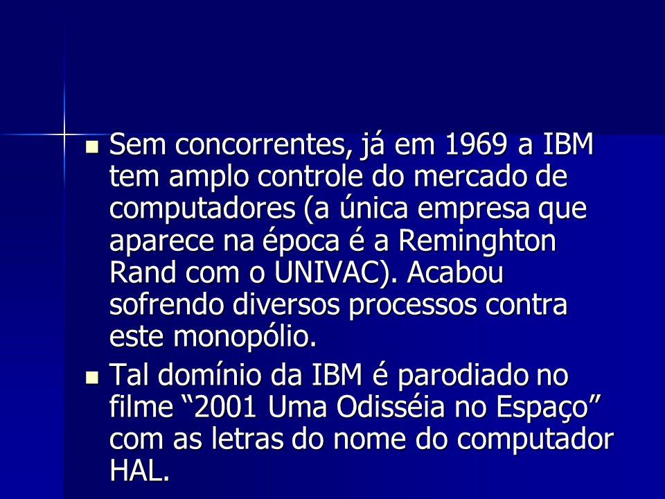 Sem concorrentes, já em 1969 a IBM tem amplo controle do mercado de computadores (a única empresa que aparece na época é a Reminghton Rand com o UNIVAC). Acabou sofrendo diversos processos contra este monopólio.