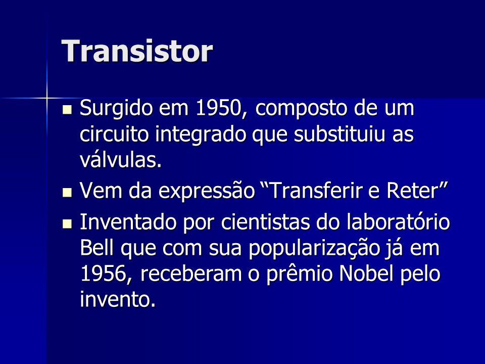 Transistor Surgido em 1950, composto de um circuito integrado que substituiu as válvulas. Vem da expressão Transferir e Reter