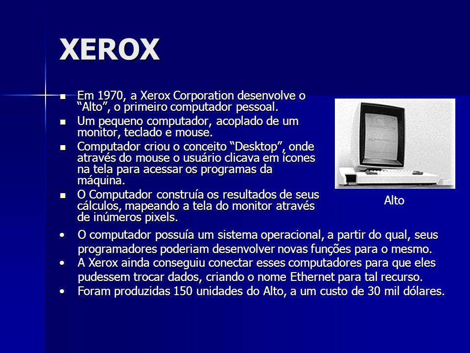 XEROX Em 1970, a Xerox Corporation desenvolve o Alto , o primeiro computador pessoal.