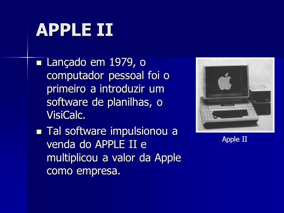 APPLE II Lançado em 1979, o computador pessoal foi o primeiro a introduzir um software de planilhas, o VisiCalc.