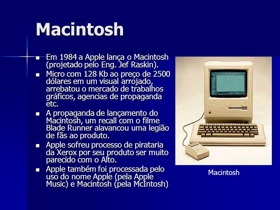 Macintosh Em 1984 a Apple lança o Macintosh (projetado pelo Eng. Jef Raskin).