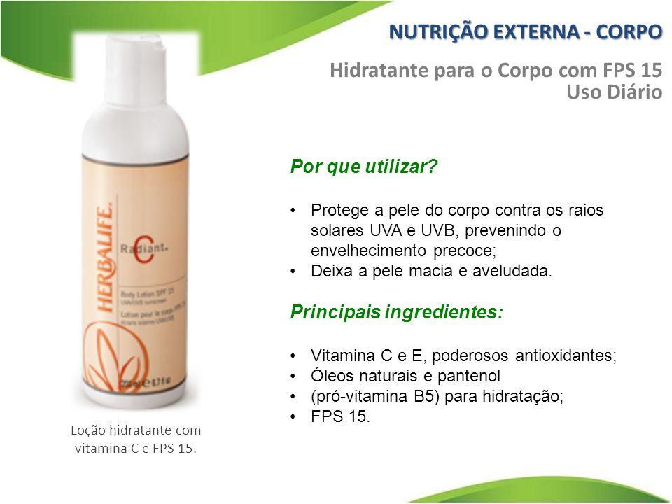 Loção hidratante com vitamina C e FPS 15.