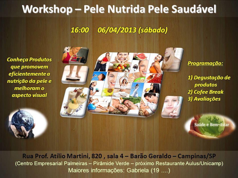 Workshop – Pele Nutrida Pele Saudável