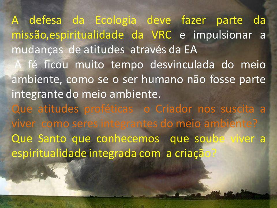 A defesa da Ecologia deve fazer parte da missão,espiritualidade da VRC e impulsionar a mudanças de atitudes através da EA