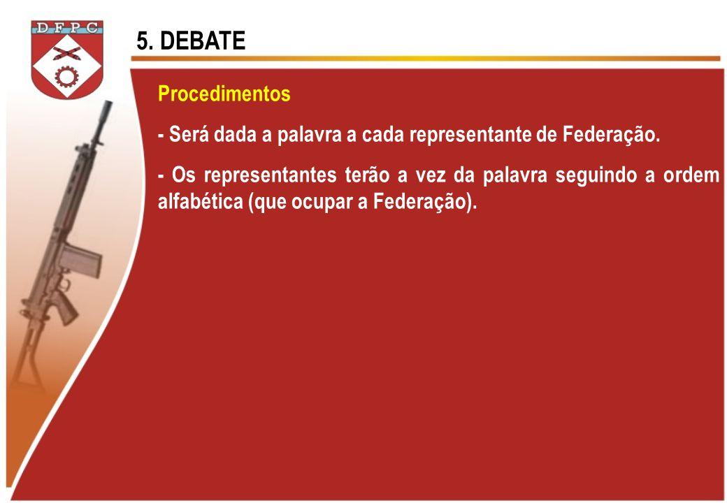 5. DEBATE Procedimentos. - Será dada a palavra a cada representante de Federação.