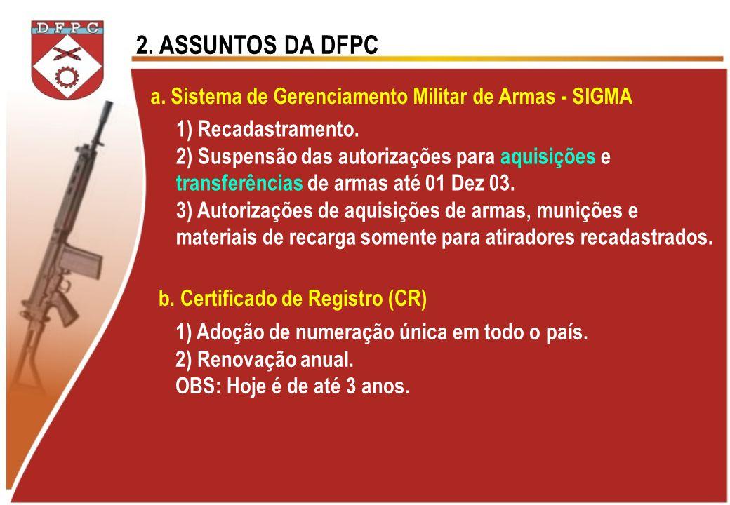 2. ASSUNTOS DA DFPC a. Sistema de Gerenciamento Militar de Armas - SIGMA. 1) Recadastramento. 2) Suspensão das autorizações para aquisições e.