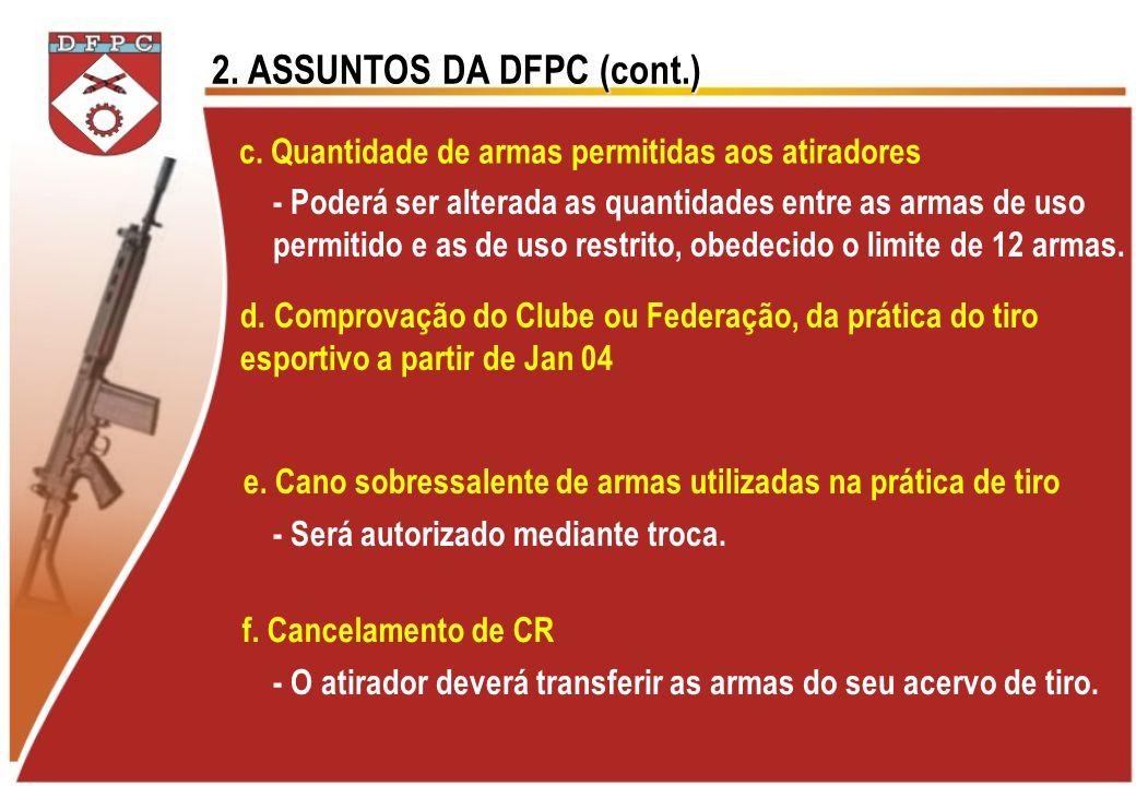2. ASSUNTOS DA DFPC (cont.)