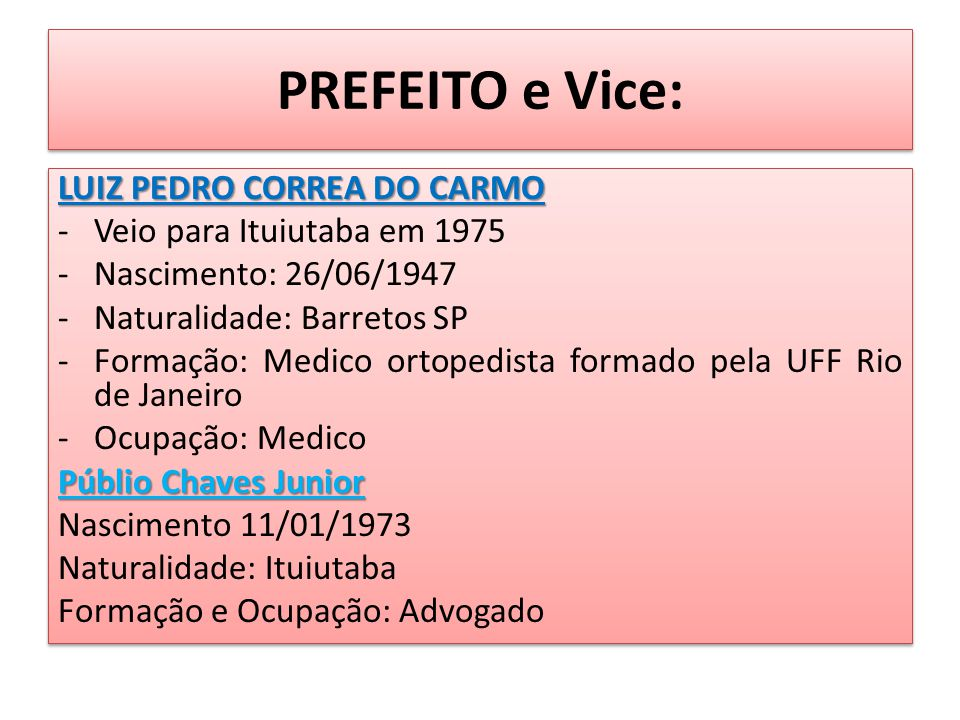 PREFEITO e Vice: LUIZ PEDRO CORREA DO CARMO