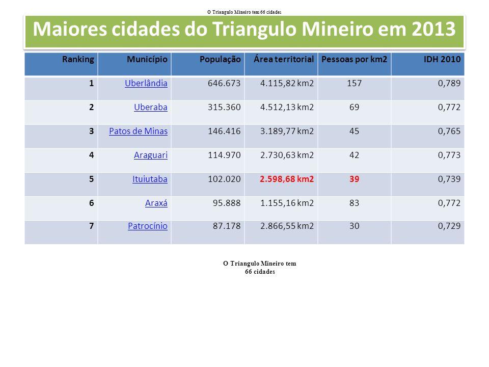 Maiores cidades do Triangulo Mineiro em 2013