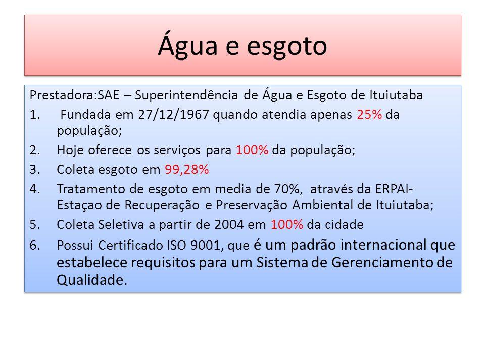 Água e esgoto Prestadora:SAE – Superintendência de Água e Esgoto de Ituiutaba. Fundada em 27/12/1967 quando atendia apenas 25% da população;