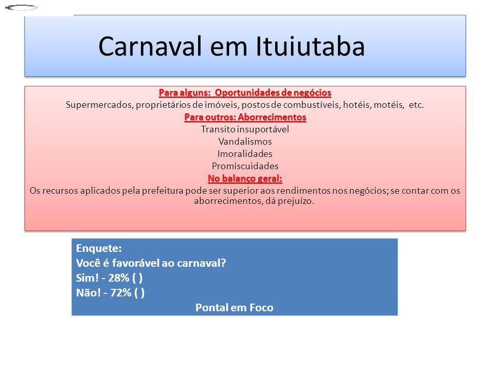 Carnaval em Ituiutaba Enquete: Você é favorável ao carnaval