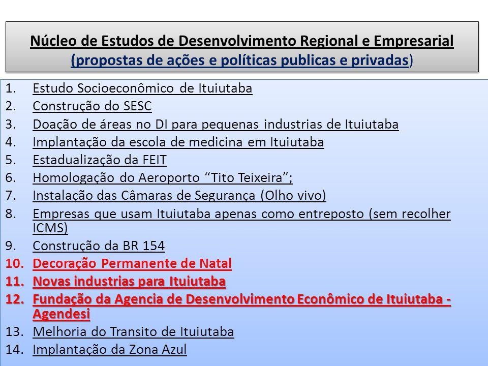 Núcleo de Estudos de Desenvolvimento Regional e Empresarial (propostas de ações e políticas publicas e privadas)