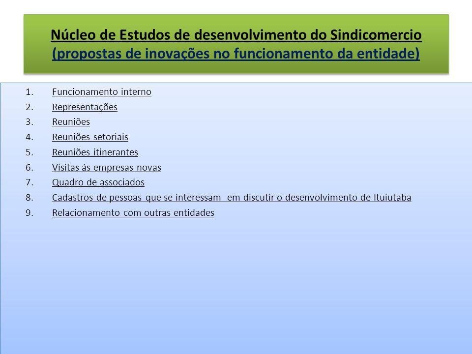 Núcleo de Estudos de desenvolvimento do Sindicomercio (propostas de inovações no funcionamento da entidade)