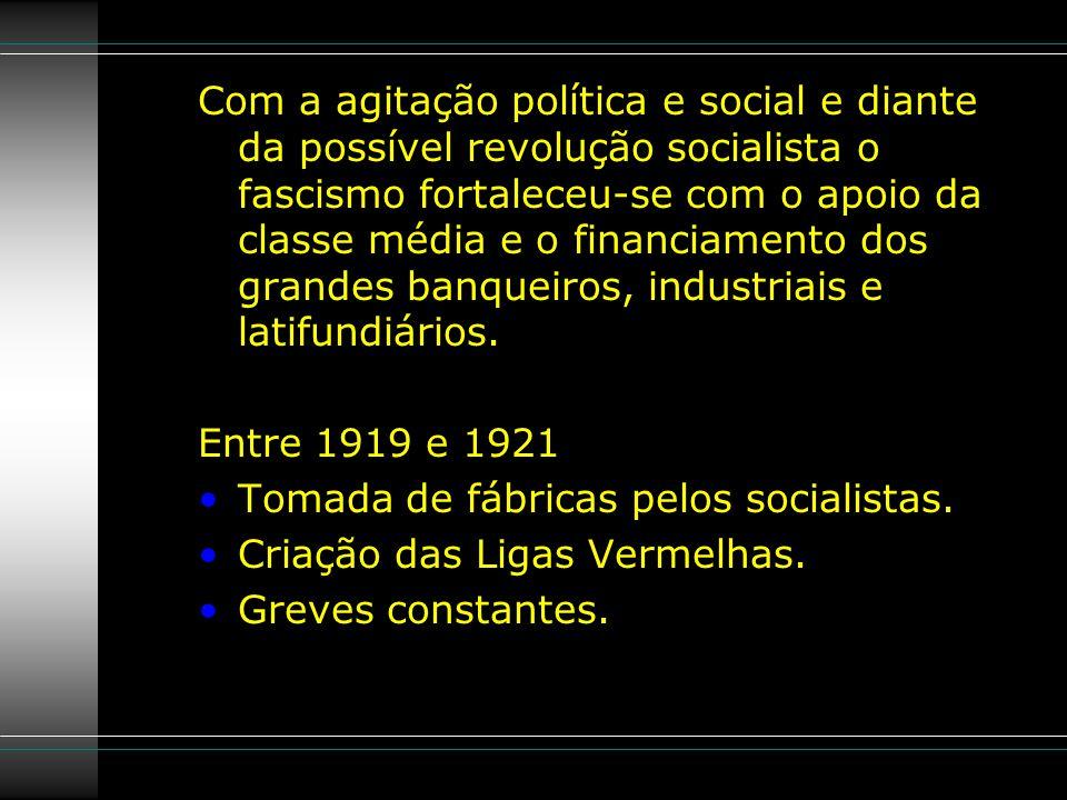 Com a agitação política e social e diante da possível revolução socialista o fascismo fortaleceu-se com o apoio da classe média e o financiamento dos grandes banqueiros, industriais e latifundiários.