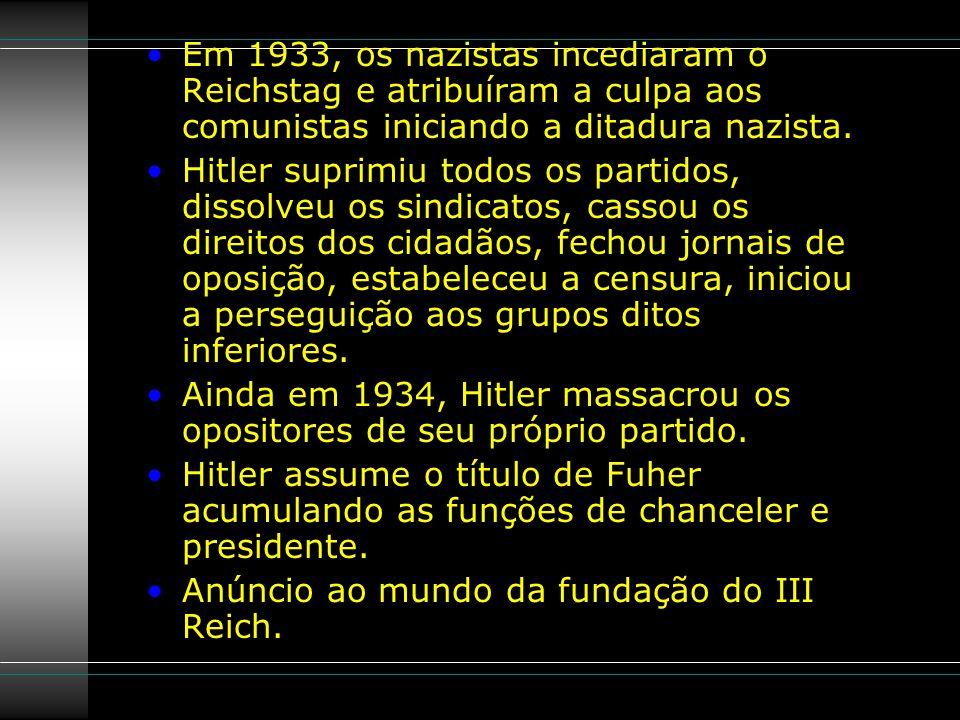 Em 1933, os nazistas incediaram o Reichstag e atribuíram a culpa aos comunistas iniciando a ditadura nazista.