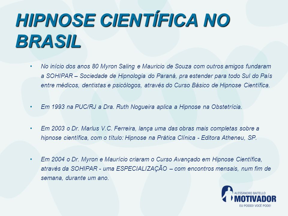 HIPNOSE CIENTÍFICA NO BRASIL