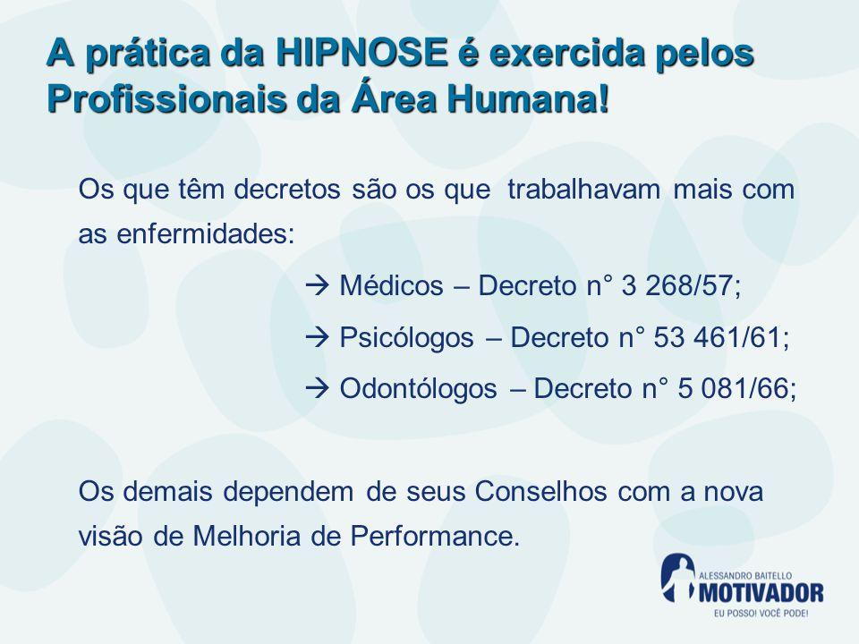 A prática da HIPNOSE é exercida pelos Profissionais da Área Humana!