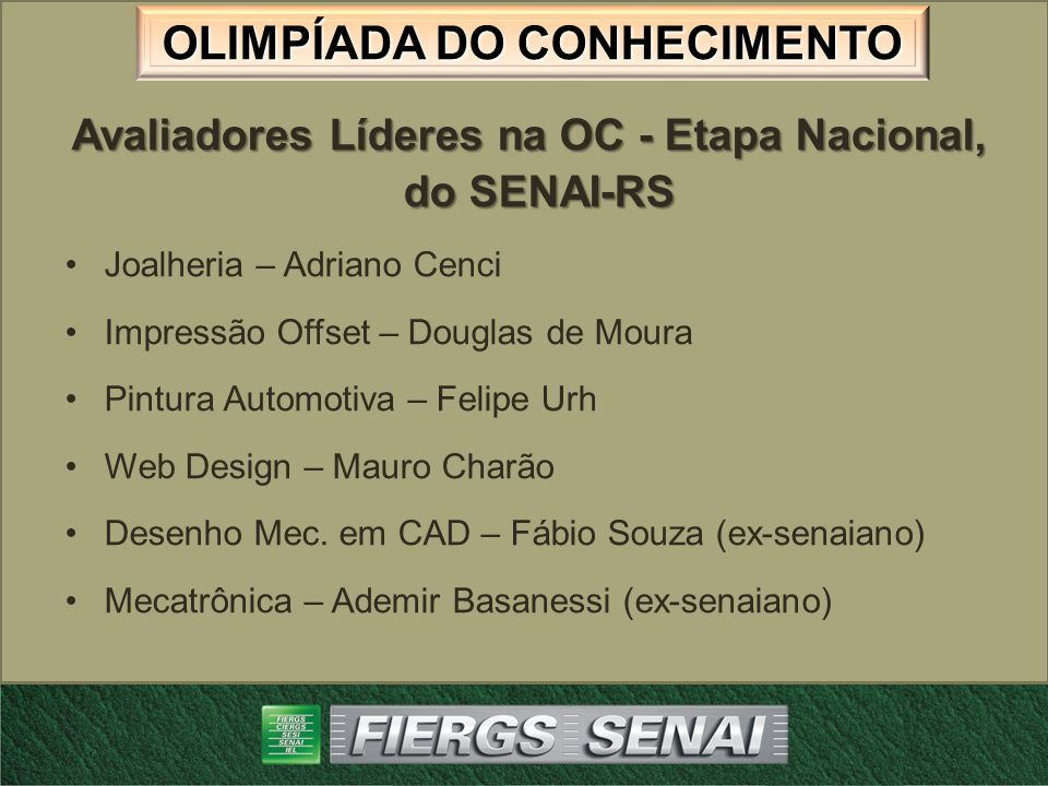 Avaliadores Líderes na OC - Etapa Nacional, do SENAI-RS
