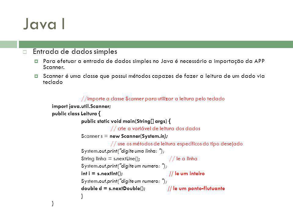 Java I Entrada de dados simples
