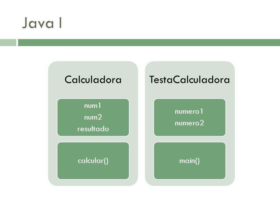 Java I Calculadora resultado num2 num1 calcular() TestaCalculadora