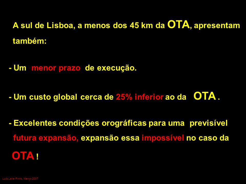 OTA ! A sul de Lisboa, a menos dos 45 km da OTA, apresentam também: