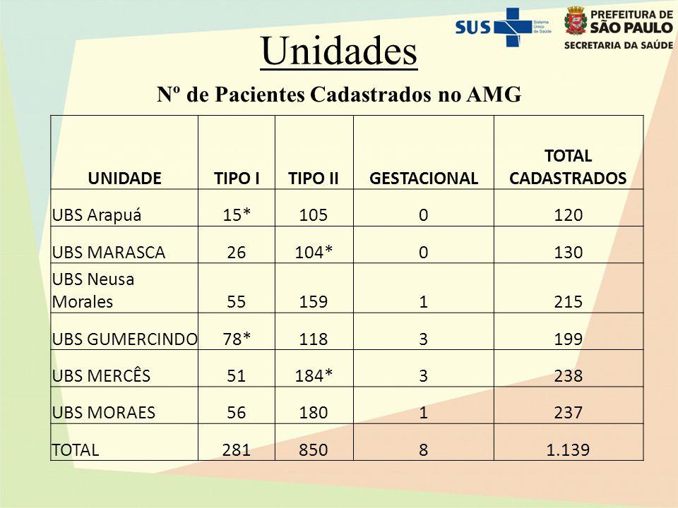 Nº de Pacientes Cadastrados no AMG