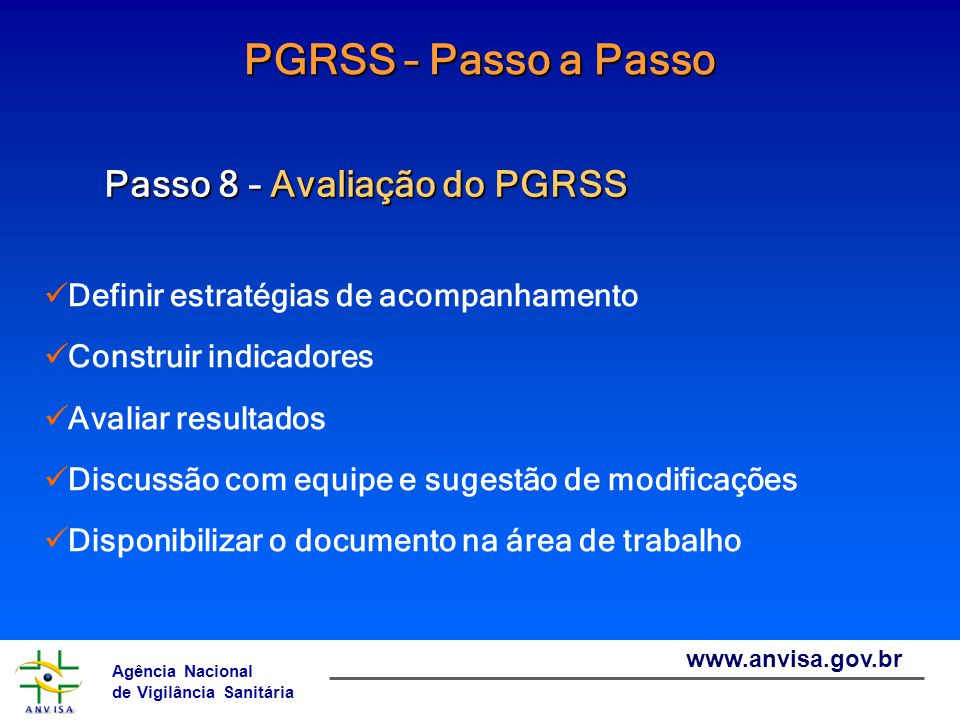 PGRSS – Passo a Passo Passo 8 – Avaliação do PGRSS