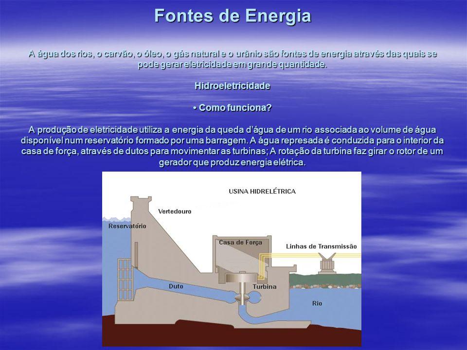 Fontes de Energia A água dos rios, o carvão, o óleo, o gás natural e o urânio são fontes de energia através das quais se pode gerar eletricidade em grande quantidade.