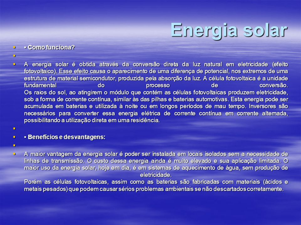 Energia solar • Como funciona