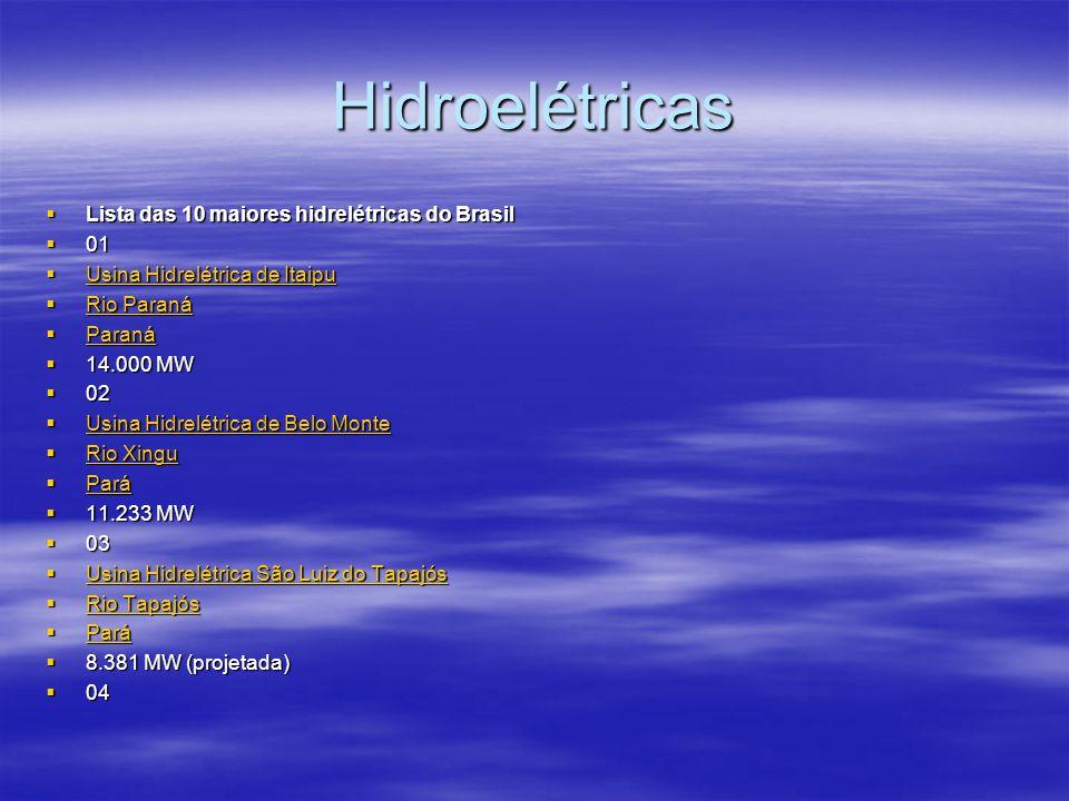 Hidroelétricas Lista das 10 maiores hidrelétricas do Brasil 01