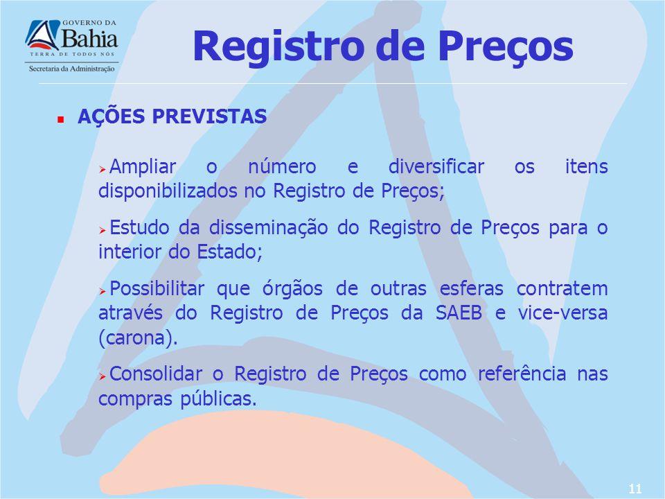 Registro de Preços AÇÕES PREVISTAS
