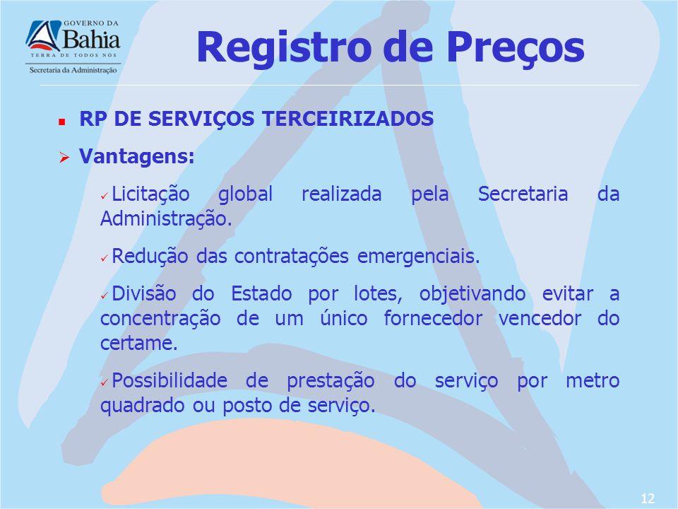 Registro de Preços RP DE SERVIÇOS TERCEIRIZADOS Vantagens: