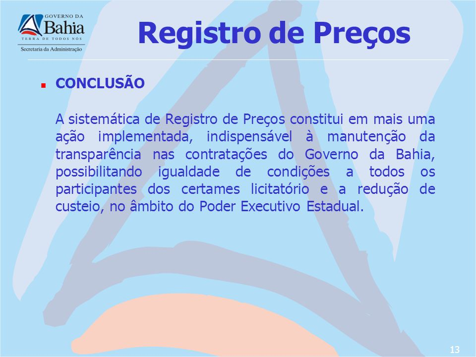Registro de Preços CONCLUSÃO