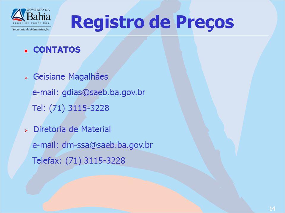 Registro de Preços CONTATOS Geisiane Magalhães